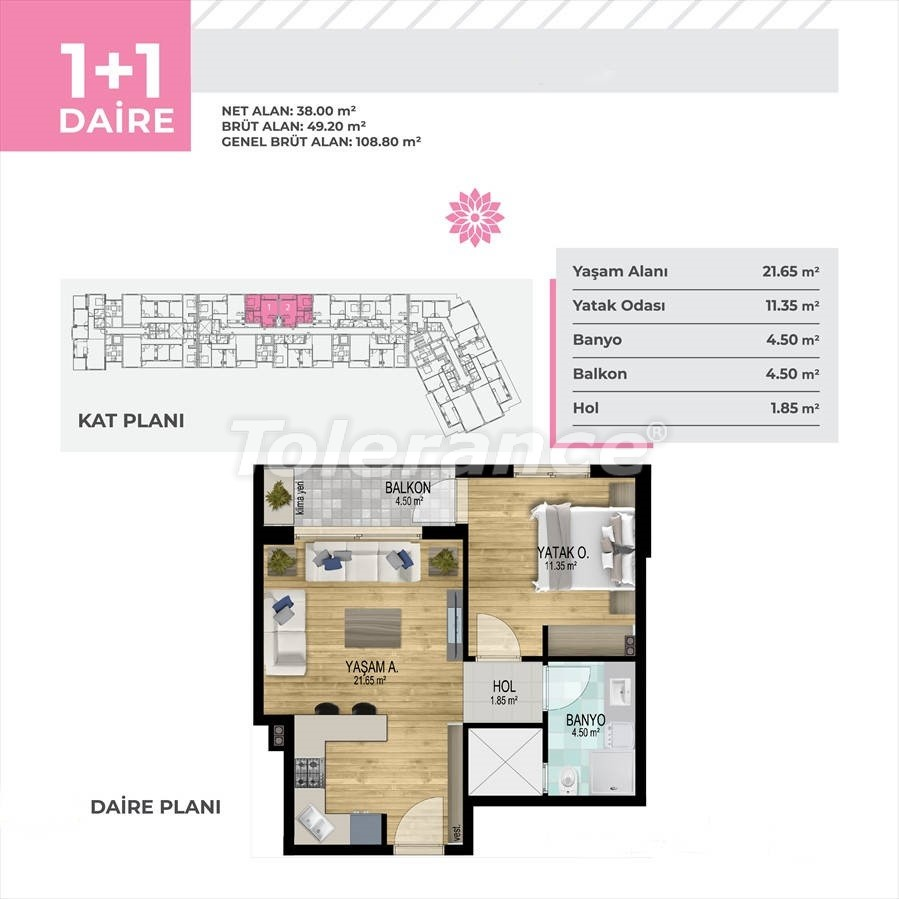 Apartments in Çiğli, Izmir profitable for investment in a complex with facilities in installments - 45329   Tolerance Homes