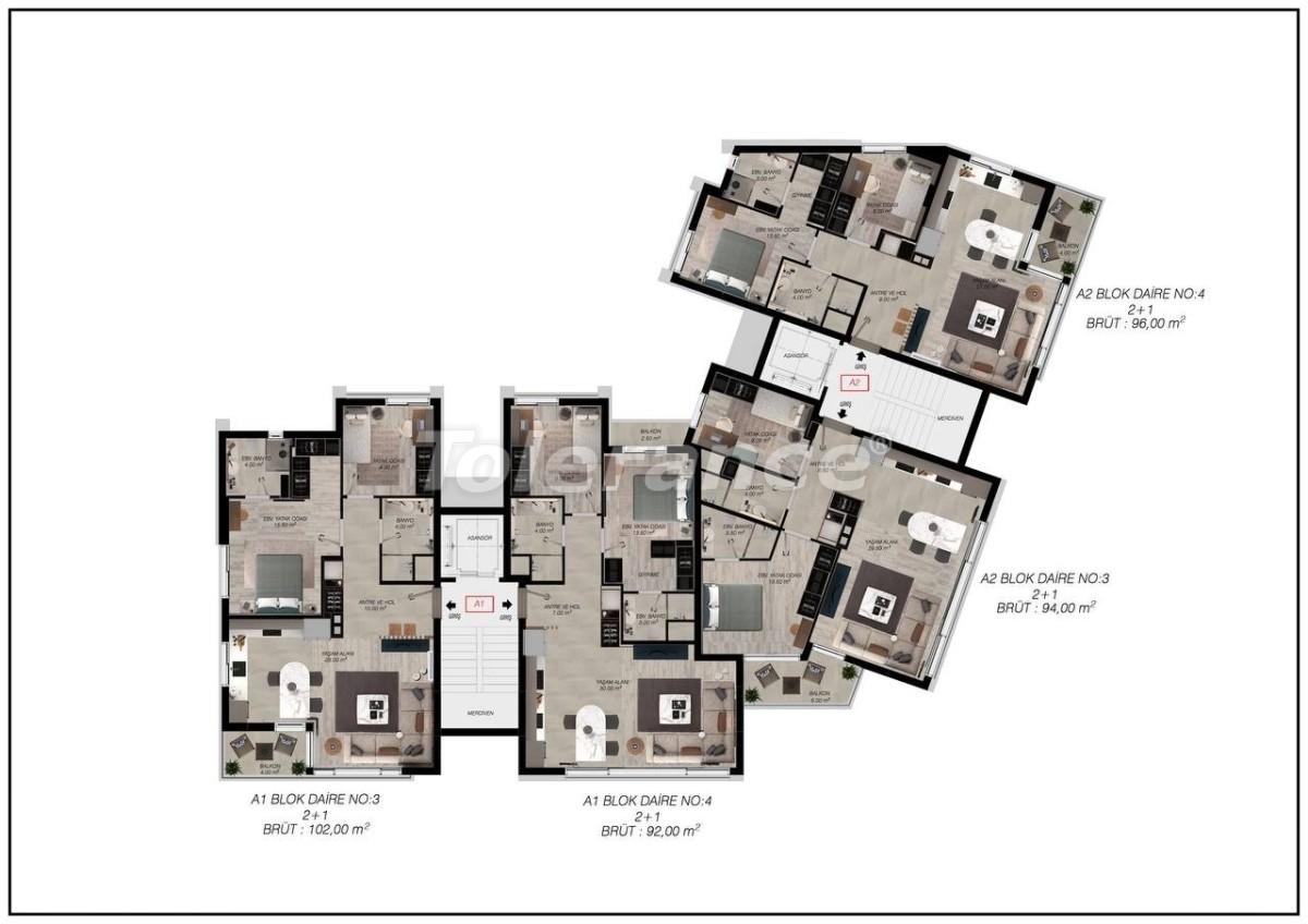 Luxury apartments in Gürsu, Konyaaltı, 300 to the sea by installments from the developer - 45565   Tolerance Homes