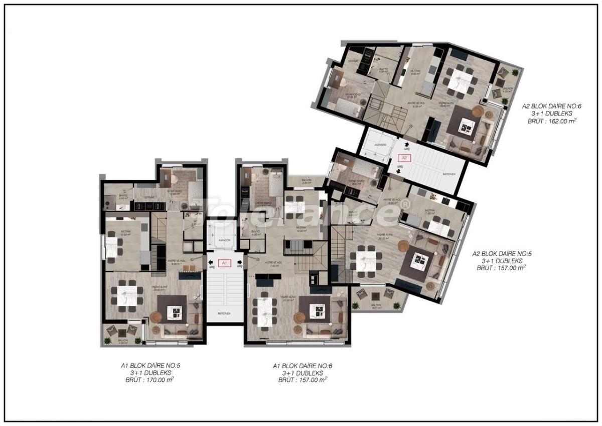 Luxury apartments in Gürsu, Konyaaltı, 300 to the sea by installments from the developer - 45566   Tolerance Homes