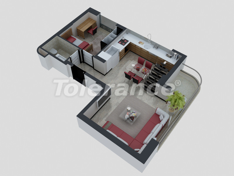 Apartments in Konyaaltı, Antalya with a full set of furniture and appliances 100 meters from the sea - 4093 | Tolerance Homes