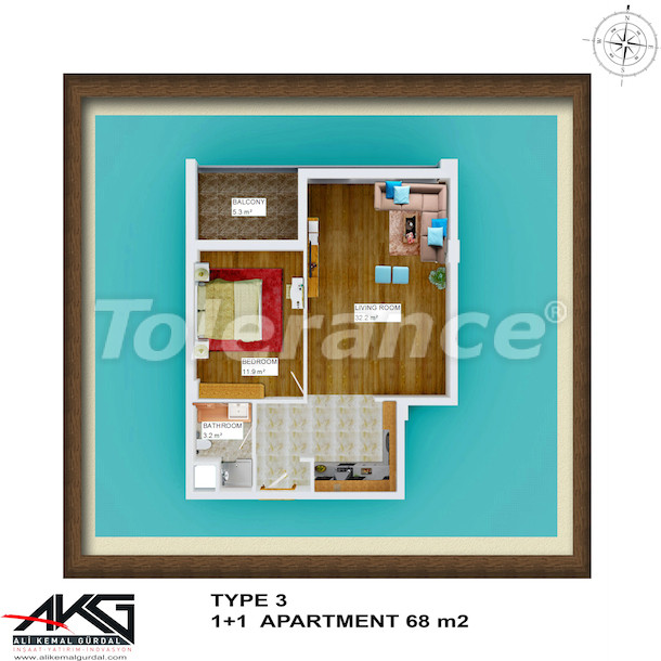 Resale one bedroom apartment in Liman, Konyaalti in a house with a rooftop pool - 6754 | Tolerance Homes
