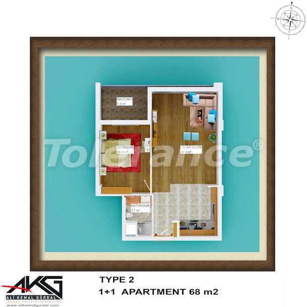 Resale one-bedroom apartment in Liman, Konyaalti in a house with a rooftop pool - 6753 | Tolerance Homes